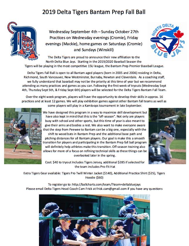 Delta Tigers Bantam AAA Baseball - Home
