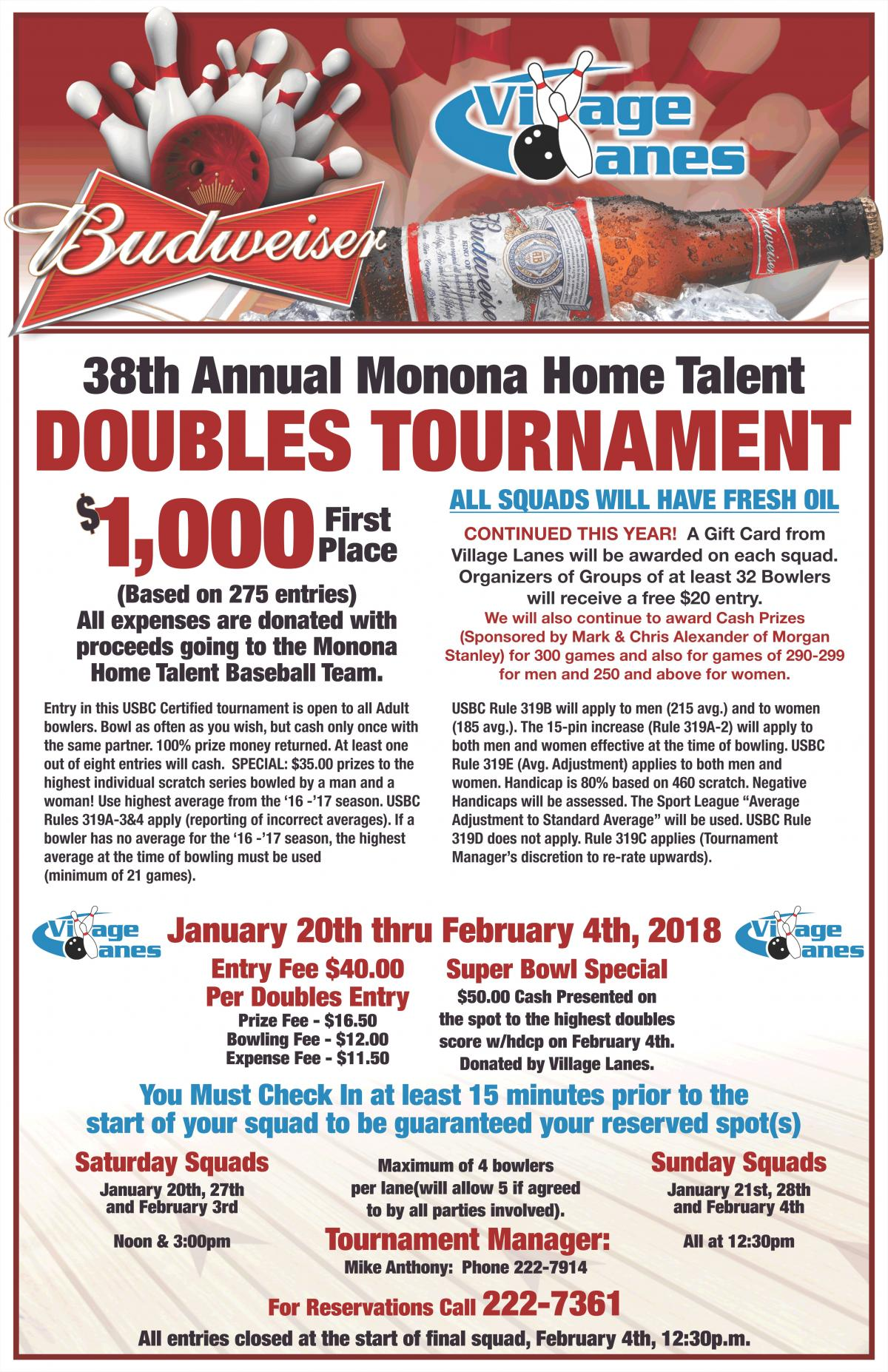 38th Annual Monona Home Talent Bowling Tournament