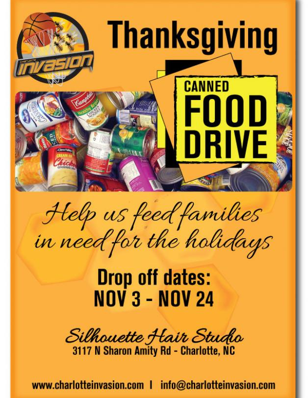 Charlotte Invasion Hosts its 1st Annual Thanksgiving Food Drive